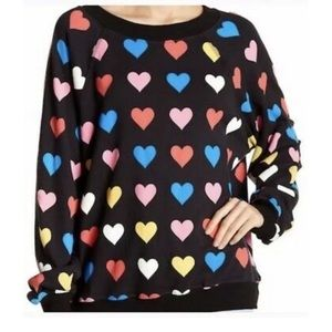 Wildfox Multi-Color Hearts Sommers Sweater L